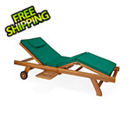 All Things Cedar Multi-Position Chaise Lounger with Green Cushions