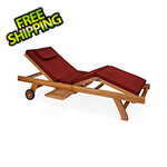 All Things Cedar Multi-Position Chaise Lounger with Red Cushions
