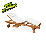 All Things Cedar Multi-Position Chaise Lounger with White Cushions