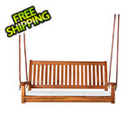 All Things Cedar Teak Swing with White Cushions