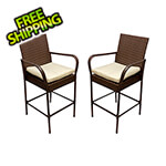 KoKoMo Grills Rattan Outdoor Barstools with Armrests (2 Pack)