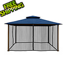 Paragon Outdoor 11 x 14 ft. Avalon Gazebo with Mosquito Netting (Navy Sunbrella Canopy)