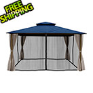 Paragon Outdoor 11 x 14 ft. Avalon Gazebo with Mosquito Netting and Privacy Panels (Navy Sunbrella Canopy)