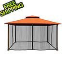 Paragon Outdoor 11 x 14 ft. Avalon Gazebo with Mosquito Netting (Rust Sunbrella Canopy)