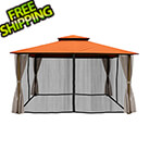 Paragon Outdoor 11 x 14 ft. Avalon Gazebo with Mosquito Netting and Privacy Panels (Rust Sunbrella Canopy)