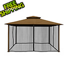 Paragon Outdoor 11 x 14 ft. Avalon Gazebo with Mosquito Netting (Cocoa Sunbrella Canopy)