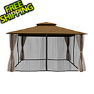 Paragon Outdoor 11 x 14 ft. Avalon Gazebo with Mosquito Netting and Privacy Panels (Cocoa Sunbrella Canopy)