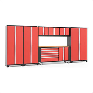 BOLD 3.0 Red 7-Piece Project Center Set with Bamboo Top