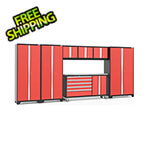 NewAge Garage Cabinets BOLD 3.0 Red 7-Piece Project Center Set with Stainless Steel Top and LED Lights