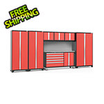 NewAge Garage Cabinets BOLD 3.0 Red 7-Piece Project Center Set with Stainless Steel Top and Backsplash