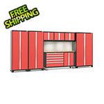 NewAge Garage Cabinets BOLD 3.0 Red 7-Piece Cabinet Set with Bamboo Top, Backsplash, LED Lights