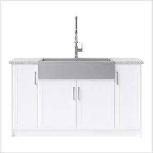 7 Piece Cabinet Set with 36 in. Sink and Faucet (White)