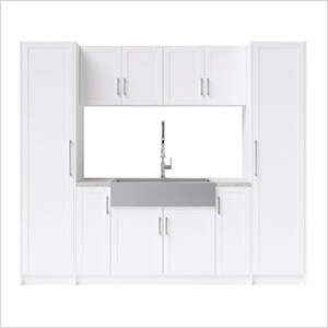 11 Piece Cabinet Set with 36 in. Sink and Faucet (White)