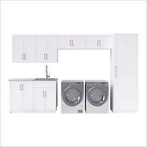 10 Piece Cabinet Set with 24 in. Sink and Faucet (White)