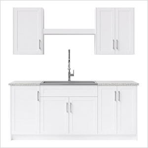 10 Piece Cabinet Set with 36 in. Sink and Faucet (White)