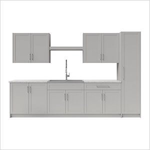 11 Piece Cabinet Set with 36 in. Sink and Faucet (Grey)