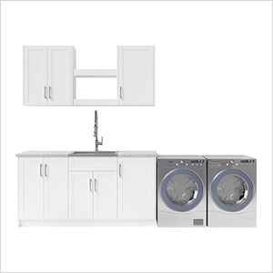11 Piece Cabinet Set with 24 in. Sink and Faucet (White)