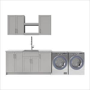 11 Piece Cabinet Set with 24 in. Sink and Faucet (Grey)