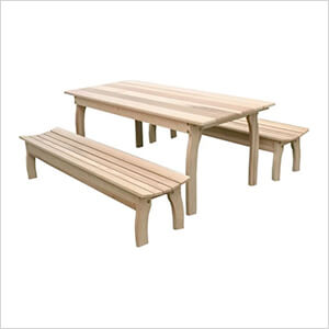"""70"""" Red Cedar Family Dining Set with 2 Benches"""