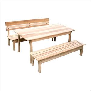 "94"" Red Cedar Couple Dining Set"