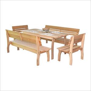 """94"""" Red Cedar Chickadee Dining Set"""