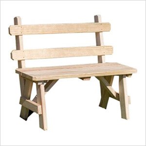 """54"""" Treated Pine Traditional Garden Bench with Back"""
