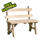 """Creekvine Designs 66"""" Treated Pine Traditional Garden Bench with Back"""