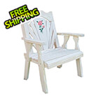 Creekvine Designs Treated Pine Fanback Patio Chair with Rose Design