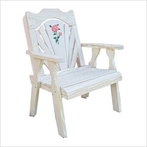 Treated Pine Fanback Patio Chair with Rose Design