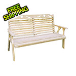"Creekvine Designs 64"" Treated Pine Crossback with Heart Garden Bench"