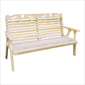 """64"""" Treated Pine Crossback with Heart Garden Bench"""