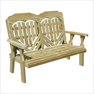 "64"" Treated Pine Heartback Garden Bench"