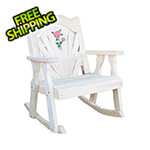 Creekvine Designs Treated Pine Fanback Rocking Chair with Rose Design