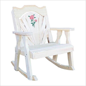 Treated Pine Fanback Rocking Chair with Rose Design