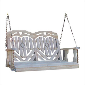 """53"""" Treated Pine Heartback Porch Swing with Hearts and Scroll"""