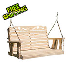 """Creekvine Designs 64"""" Treated Pine Crossback with Heart Porch Swing"""