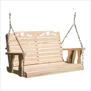 """64"""" Treated Pine Crossback with Heart Porch Swing"""