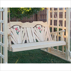 """64"""" Treated Pine Fanback with Rose Design Porch Swing"""