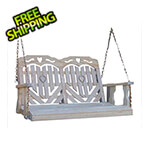 """Creekvine Designs 64"""" Treated Pine Heartback Porch Swing with Hearts and Scroll"""