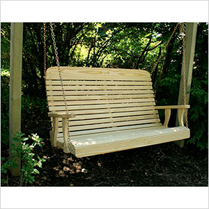 """64"""" Treated Pine High Crossback Porch Swing"""