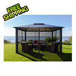 Paragon Outdoor 12 x 14 ft. Santa Monica Aluminum Gazebo with Mosquito Netting