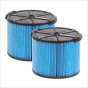 Compact Fine Dust Cartridge Filter for Wet Dry Shop Vacuum (2-Pack)