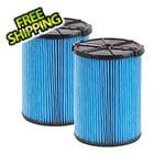 Workshop Vacs Multi-Fit Fine Dust Wet Dry Cartridge Filter for 5-16 Gallon Vacuums (2-Pack)