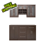 NewAge Home Bar Espresso 7-Piece Cabinet Set