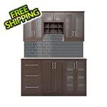 NewAge Home Bar Espresso 7-Piece Cabinet Set with Glass Subway Tile Backsplash