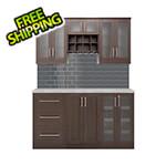 NewAge Home Bar Espresso 7-Piece Cabinet Set with Granite Countertop and Glass Subway Tile Backsplash