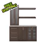 NewAge Home Bar Espresso 7-Piece Cabinet Set with Granite Countertop