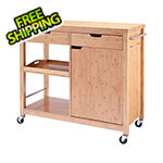 Trinity 48 In. Bamboo Kitchen Island With Cabinet