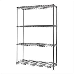 PRO Black 4-Tier Steel Wire Garage Storage Shelving Unit
