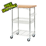 Trinity Expandable Bamboo Top Kitchen Cart